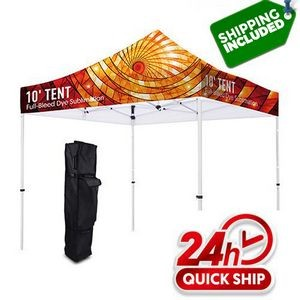 48 Hour Quick Ship Premium 10' Tent Canopy Frame Stand Kit (Full Color Dye Sublimation)