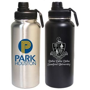 32 Oz. Stainless Steel Vacuum Insulated bottle with screw-on lid and clip